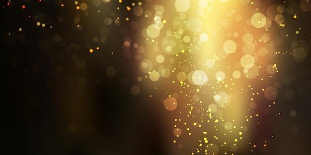 Ouro brilhante brilho stardust em fundo preto com luzes de bokeh