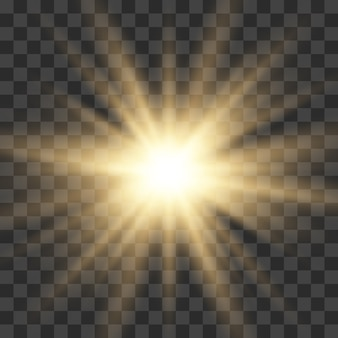 Ouro brilhante luz explosão explosão com transparente. estrela brilhante.