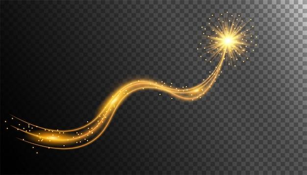 Ouro cintilante com trilha de poeira estrela brilhante