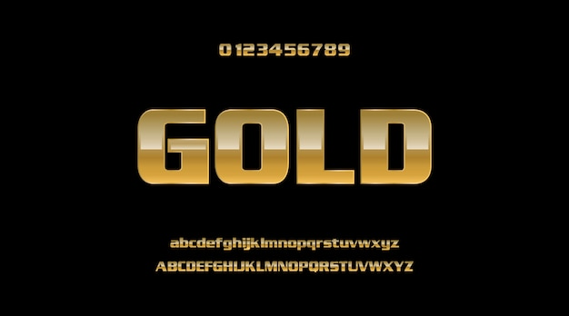 Ouro colorido elegante metal forte negrito 3d texto moderno estilo efeito alfabeto fonte conjunto