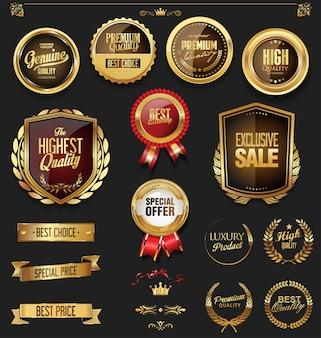 Ouro de luxo e coleção de elementos de design preto