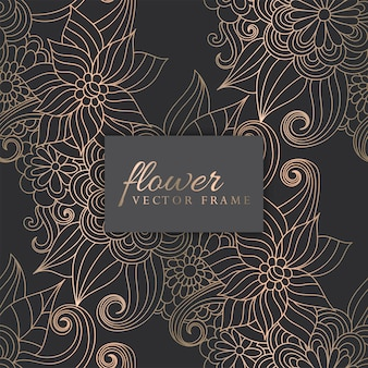Ouro de luxo e padrão de zentangle floral sem costura na moda escuro