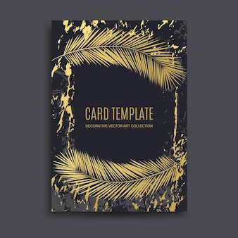 Ouro de luxo, fundo abstrato em mármore preto, cartão, convite com folhas de palmeira douradas e design premium. casamento, aniversário, verão, modelos de padrão de folha, moldura geométrica e textura.
