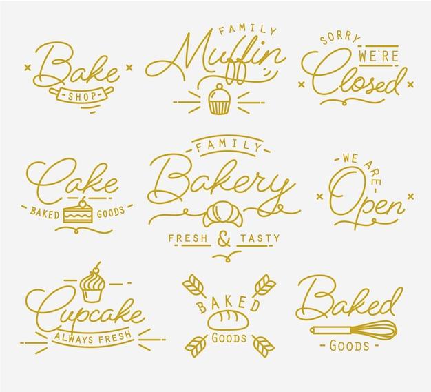 Ouro de símbolos de padaria plana