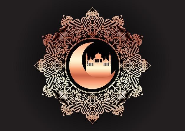 Ouro decorativo e fundo árabe preto