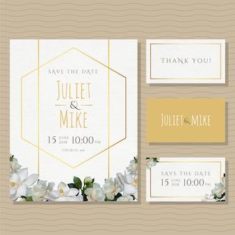 Ouro e convite do casamento das flores