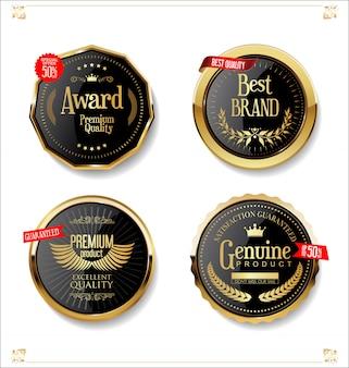 Ouro e preto retro venda emblemas e etiquetas coleção