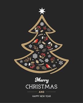 Ouro elegante e árvore de natal preta com elementos de natal.