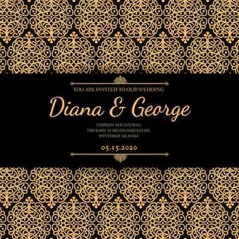 Ouro elegante e convite preto do casamento