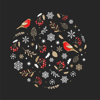 Ouro elegante e enfeite de natal preto com elementos de natal.