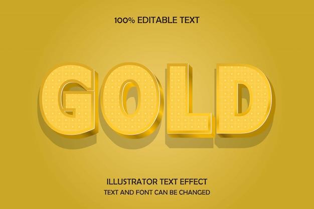 Ouro, estilo de efeito 3d texto editável em ouro