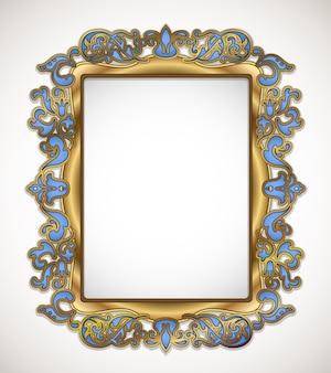 Ouro floral e moldura azul em branco