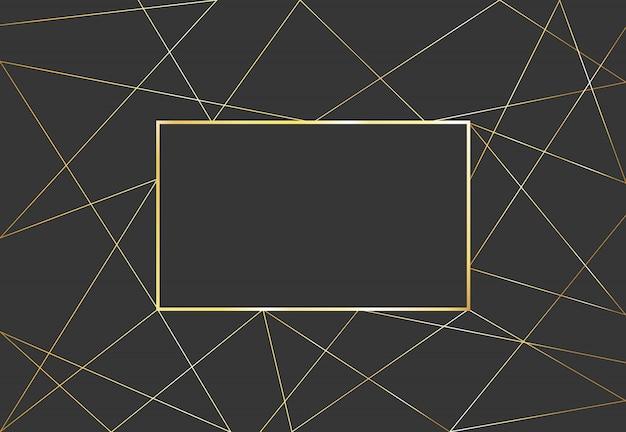 Ouro fundo geométrico poligonal. quadro de vetor de design de luxo