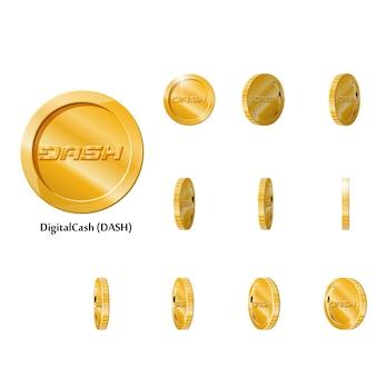 Ouro girar moedas de traço