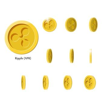 Ouro girar moedas ripple