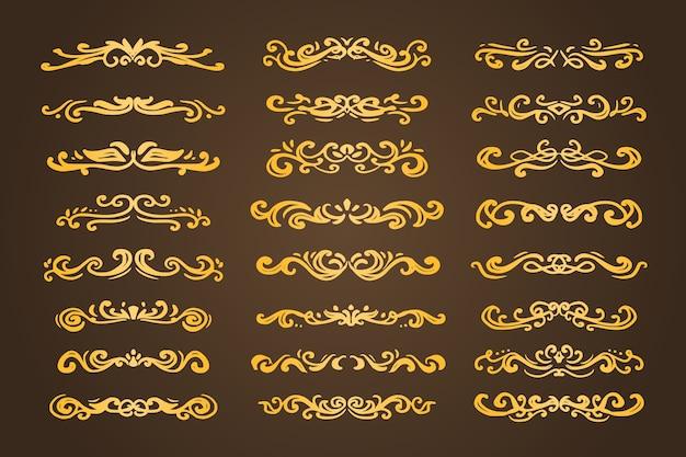 Ouro luxo redemoinho divisor ornamento divisor conjunto coleção vetor