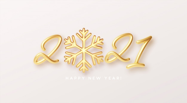 Ouro metálico texto realista com floco de neve dourado.