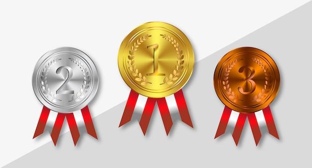 Ouro, prata, bronze, medalhas com fitas