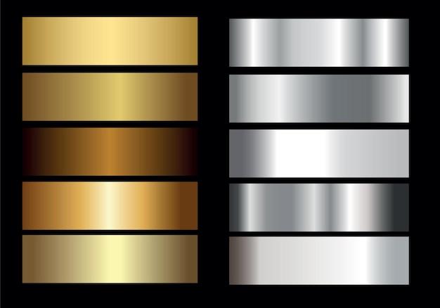 Ouro prata dourado brilhante e coleção gradiente de metal, ilustração