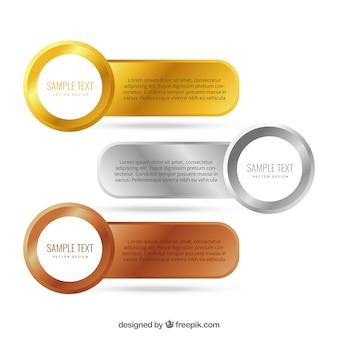 Ouro, prata e bronze banners