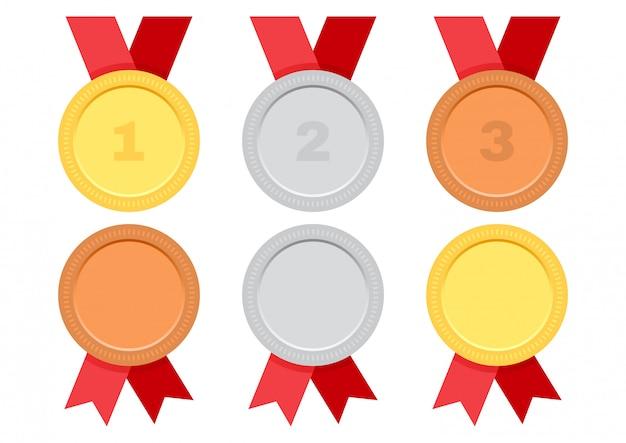 Ouro, prata e bronze. conjunto de medalhas de prêmio com fita vermelha.