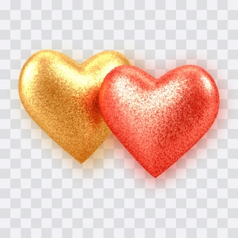 Ouro realista 3d abstrato e corações de balão vermelho com textura de glitter isolada em transparente.