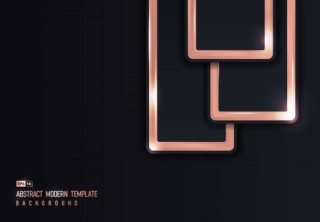 Ouro rosa abstrato brilhante de sobreposição metálica fundo arte-final do projeto.