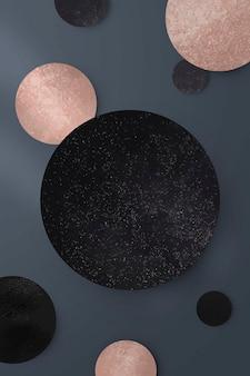 Ouro rosa cintilante e vetor de fundo preto redondo padrão