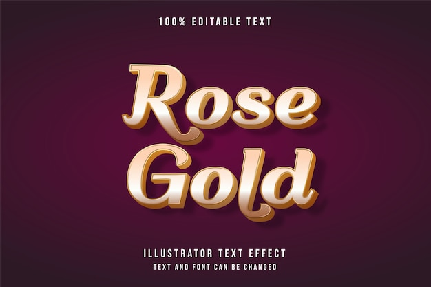 Ouro rosa, efeito de texto editável em 3d, efeito de estilo sombra ouro gradação amarela