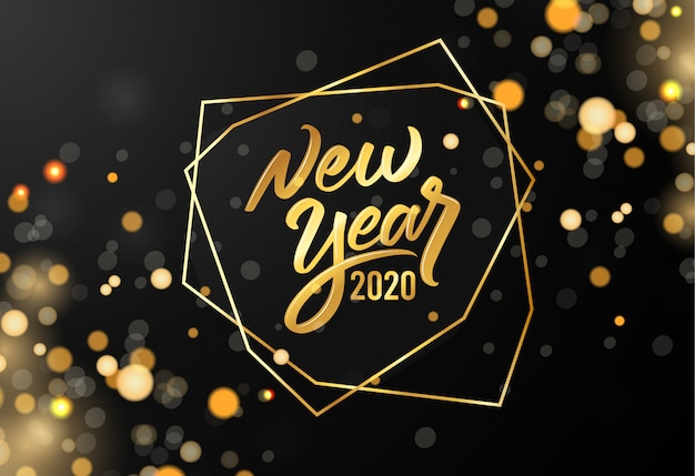 Ouro turva feliz ano novo 2020 com letras de texto