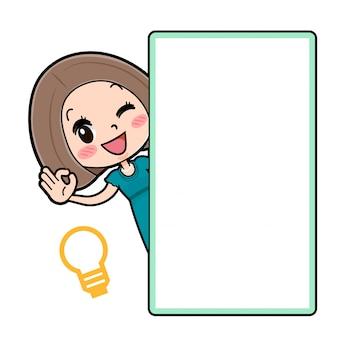 Out line bob hair dress women_peeping from an empty board e fazendo ok gesto