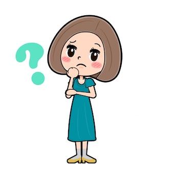 Out line vestido de cabelo bob mulheres_question mark