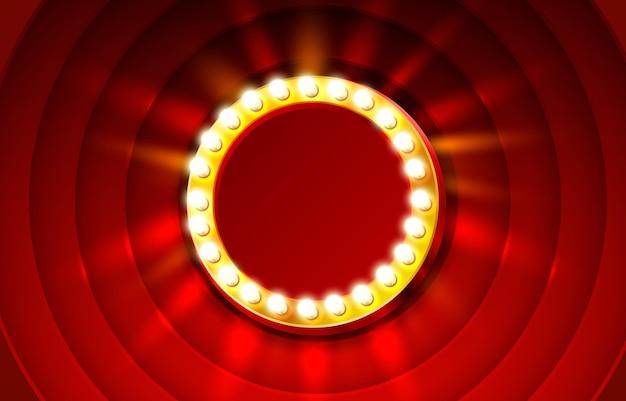Outdoor retrô de moldura vermelha, texto de horário de exibição em branco.