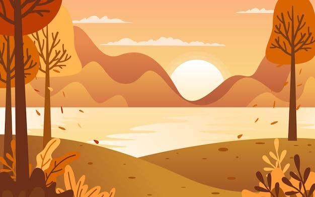 Outono à beira do lago ao pôr do sol pode ser uma inspiração para ilustração em vetor design plano.