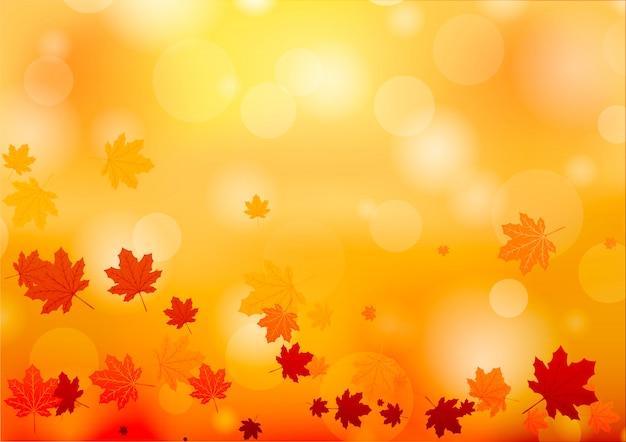 Outono abstrato. fundo com folhas de outono caindo.