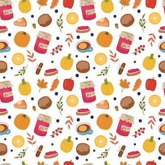 Outono acolhedor padrão sem emenda com geléia, chá, pão, folhas, frutas, torta de abóbora, limões. fundo bonito para têxteis, papel de embrulho. ilustração em vetor mão desenhada dos desenhos animados.