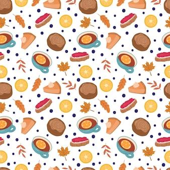 Outono acolhedor padrão sem emenda com torta de abóbora, limão, chá, frutas e folhas. fundo bonito para têxteis, papel de embrulho. ilustração em vetor mão desenhada dos desenhos animados.