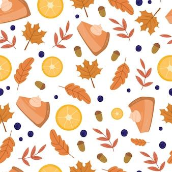Outono acolhedor padrão sem emenda com torta de abóbora, limões, frutas e folhas. fundo bonito para têxteis, papel de embrulho. ilustração em vetor mão desenhada dos desenhos animados.