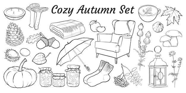 Outono aconchegante conjunto de elementos isolados desenhados à mão