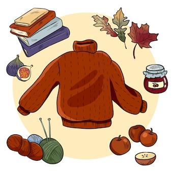 Outono aconchegante doodles set