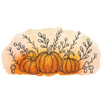 Outono aconchegante natureza morta com contorno de doodle folhas pretas de cogumelos de abóbora em fundo aquarela