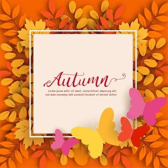 Outono banner de venda com folhas em papel cortado estilo. Vetor Premium