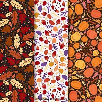 Outono bela coleção de padrões desenhados à mão