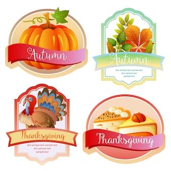 Outono bonito e etiqueta bonito de ação de graças