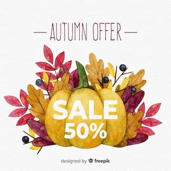 Outono bonito fundo de vendas em estilo aquarela