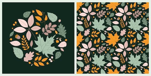 Outono brilhante com composição redonda e padrão sem emenda com folhas de outono e grãos em estilo cartoon plana sobre fundo verde escuro. impressão vetorial para impressão em tecido, cartões de outono, etc.