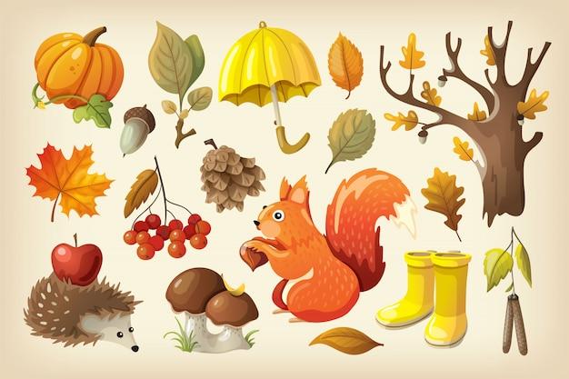 Outono colorido conjunto