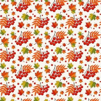 Outono colorido sem costura padrão com bagas de sorveira e folhas de plátano