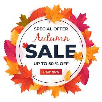 Outono com design de forma de banner de venda sazonal de folha com desconto