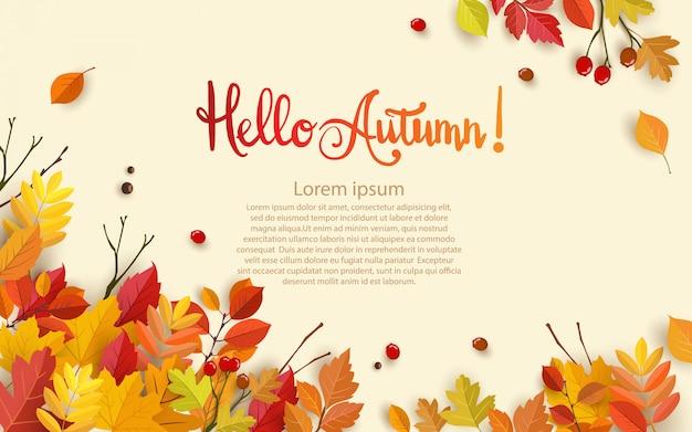Outono com folhas bonitas.